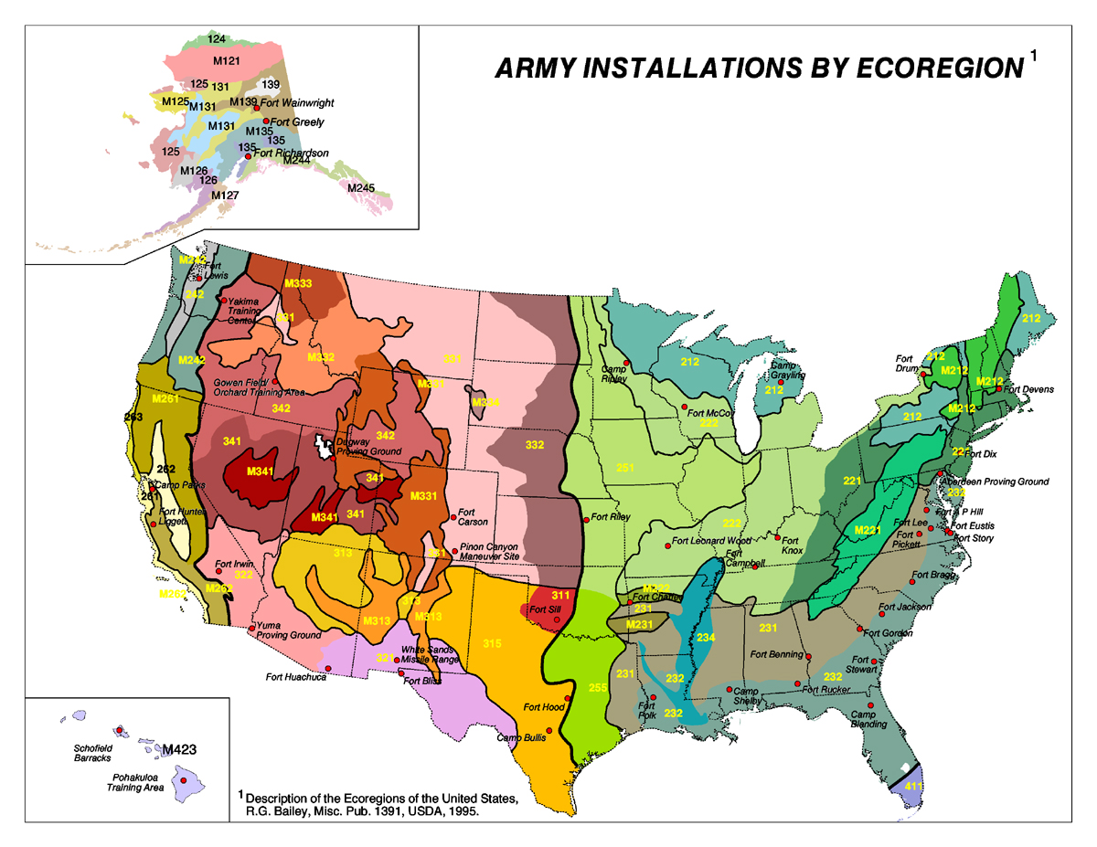 Us Army Bases In Usa Map